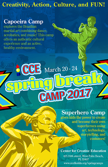 spring break art camp for kids at the cce in west palm