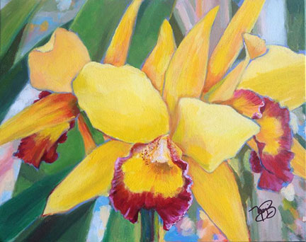 yellow hibiscus flower painting